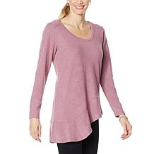 DG2 by Diane Gilman Brushed Knit Asymmetric Peplum Top