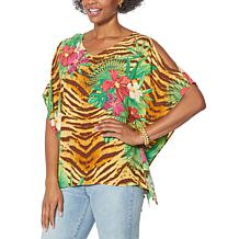 DG2 by Diane Gilman Cold-Shoulder Printed Kaftan