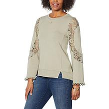 "DG2 by Diane Gilman ""DG Downtime"" Lace Appliqué Sweatshirt"