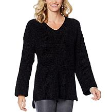 DG2 by Diane Gilman Heathered Chenille Boyfriend Sweater