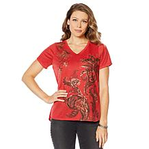 DG2 by Diane Gilman Hi-Low Floral Burnout Tee