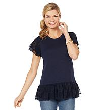 DG2 by Diane Gilman Lace-Detail Ruffle Tee