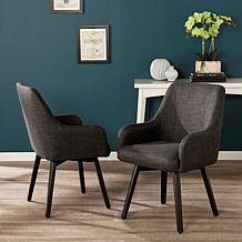 Draco Pair of Upholstered Swivel Arm Chairs - Charcoal