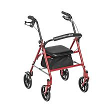 Drive Medical 4-Wheel Rollator Rolling Walker w/ Fold Up Back Support