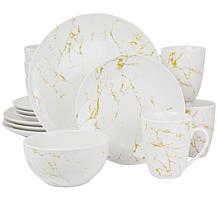 Elama Fine Marble 16-Piece Stoneware Dinnerware Set (Gold & White)