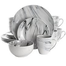 Elama Fine Marble 16 Piece Stoneware Dinnerware Set in Black and White