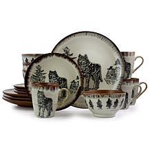 Elama Majestic Wolf 16 Piece Round Stoneware Dinnerware Set in Taupe