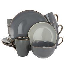 Elama Tahitian Grand 16-piece Dinnerware Set - Stone and Slate