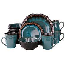 Elama's Mystic Waves 16-Piece Stoneware Dinnerware Set