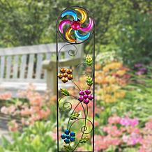 Exhart Solar Trellis Wind Spinner Garden Stake