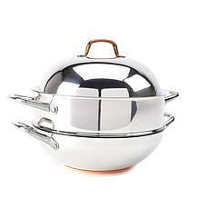 Food & Wine 3-piece Stainless Steel Wok and Steamer Set