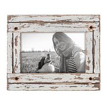 """Foreside Home & Garden White 4x6"""" Distressed Wood Picture Frame"""
