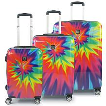 FUL Tie Dye Nested 3-Piece Spinner Luggage Set