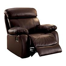 Furniture of America Suzette Top-Grain Leather Recliner - Brown