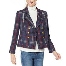 G by Giuliana Pieced Novelty Plaid Tweed Blazer