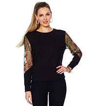 G by Giuliana Sweatshirt with Embroidered Mesh Sleeves