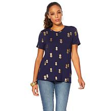 G by Giuliana Tropical Foil-Print Tee