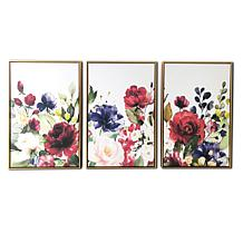 """Gallery 57 Floral Garden Triptych 24"""" x 48"""" Floating Canvas"""
