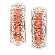 Gems by Michael Padparadscha Sapphire Framed Hoop Earrings