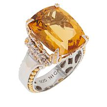Gems by Michael Sterling Silver Citrine and White Zircon Ring