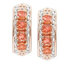 Gems by Michael Valitutti Two-Tone Padparadscha Sapphire Hoop Earrings
