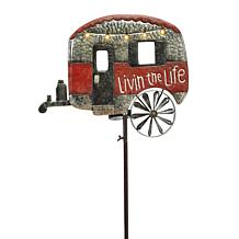 Gerson Solar-Powered Metal Camper Yard Stake w/Wind Spinner