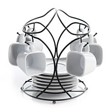 Gibson Elite Gracious Dining Espresso and Saucer Set with Metal Rack