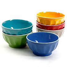 """Gibson Home Set of 6 Bright Style 6"""" Cereal Bowls in Assorted Colors"""