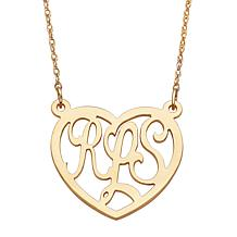 Gold Over Sterling 3 Initial Monogram Large Heart Necklace