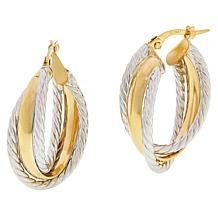 Golden Treasures 14K Gold 2-Tone Double Rope Hoop Earrings