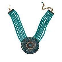 Heidi Daus Belgian Crystal Disc Pendant 6-Strand Beaded Necklace