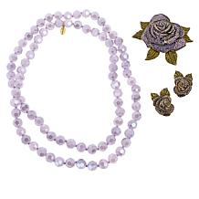 Heidi Daus Crystal Rose Pin, Earrings and Necklace Set