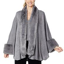 Heidi Daus Sweater Knit Topper with Faux Fur Trim