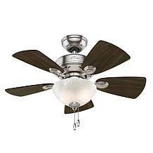 "Hunter 34"" Watson Brushed Nickel Ceiling Fan w Light Kit and Chain"