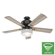 "Hunter 52"" Cedar Key Matte Black Damp Rated Remote Control Ceiling Fan"