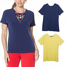 IMAN City Chic 2-pack Tee with Necklace