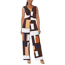 IMAN City Chic Sleeveless Jumpsuit with Hidden Buttons