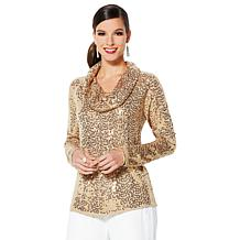 IMAN Global Chic Dressed & Ready Sequin Cowl-Neck Top