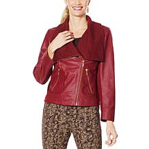 IMAN Global Chic Genuine Lamb Leather Moto Jacket