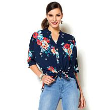 IMAN Global Chic Luxury Resort Printed Tie-Front Top