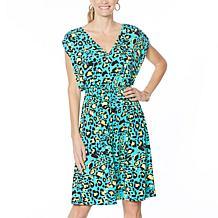 IMAN Global Chic V-Neck Dress with Smocked Waist