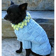 Isabella Cane Knit Dog Sweater - Blue with Green Poms