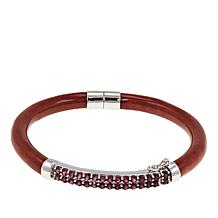 Jade of Yesteryear Red Jade and Red Rhodolite Hinged Bangle  Bracelet