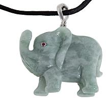 Jade of Yesteryear Sterling Silver Elephant Pendant with Silk Cord