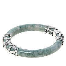 Jade of Yesteryear Sterling Silver Green Jade Hinged Bamboo Bangle