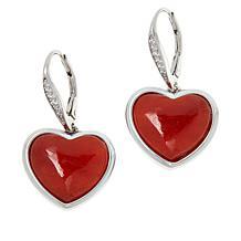 Jade of Yesteryear Sterling Silver Jade Heart Drop Earrings