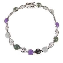 Jade of Yesteryear Sterling Silver Multi-Color Jadeite Bracelet