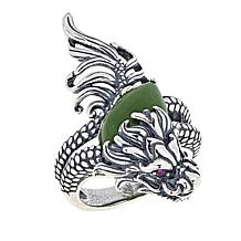 Jade of Yesteryear Sterling Silver Nephrite Jade and Ruby Dragon Ring