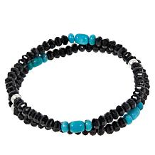 Jay King Black Spinel and Turquoise Bead Two-Strand Stretch Bracelet