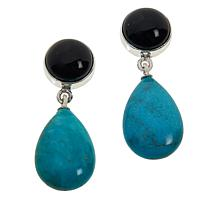 Jay King New Red Skin Turquoise and Midnight Chalcedony Drop Earrings